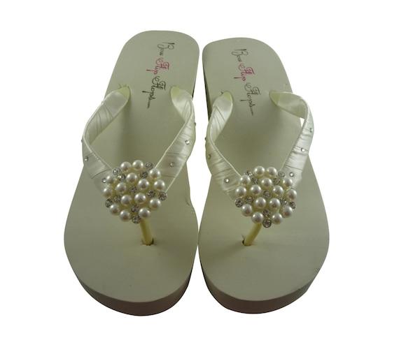 Swarovski Rhinestone Flip White Rhinestone Wedding Ivory Flops platform Pearl bridesmaids bling heel Bridal Bride Wedge AqrqEzgx