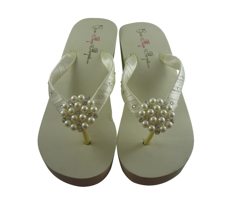 72ca5c54a183f3 Flip Flops Bride Swarovski Ivory Bridal Wedge White Rhinestone