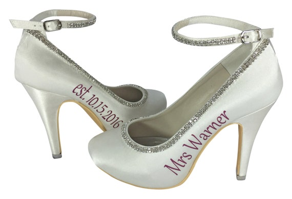 Rhinestone Ivory last and date name Bridal new Mrs High and Silver Diamonte wedding Strap Heels ffxqdrw