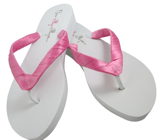 Plain Flops wedding Straps Heel for Bridesmaid Ivory White wedges or Satin Hot Platform Pink Wedge Flops the Bride Flip Flip 7RwTqR