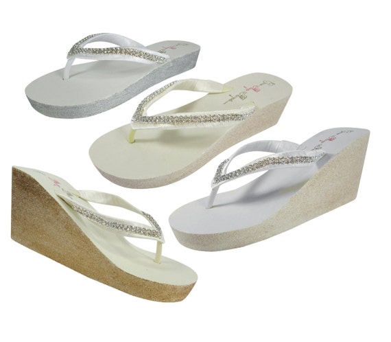bling Flip Flip in Flops silver or Wedding Wedge low high gold Heel or Bridal champagne Diamonte Flops white Glitter ivory or glitter tqAv71wW