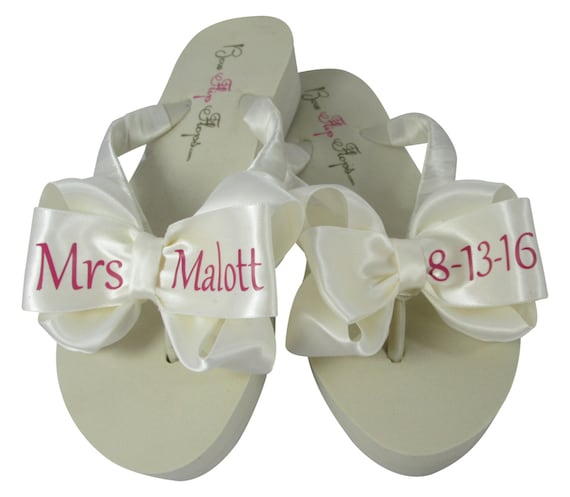 Flops White Bow Wedding Pink Date Mrs Name Flip and Ivory choose and colors xw0qFvzC