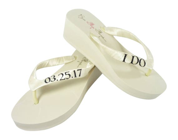 Wedge Black the Flip for Ivory Bride I Date Do Glitter Wedding White and or Flops BBqWwzUC