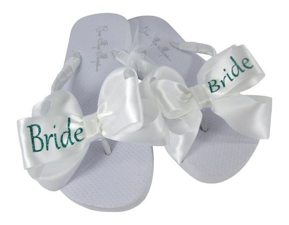 amp; flops Flops selection Flip Emerald Bride colors our flat flip wedge Glitter Green with Shop Bling ivory white all sizes Wedding zHWz4F