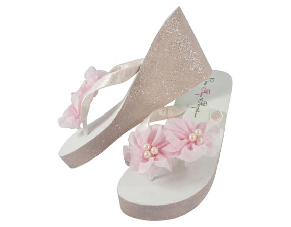 in Colors Flower Flip High Custom Bridesmaids or Pink with Wedding bling Pearl or Glitter Silver Flops Accents Wedge amp; Low Sandals for Bride XUfwawzq