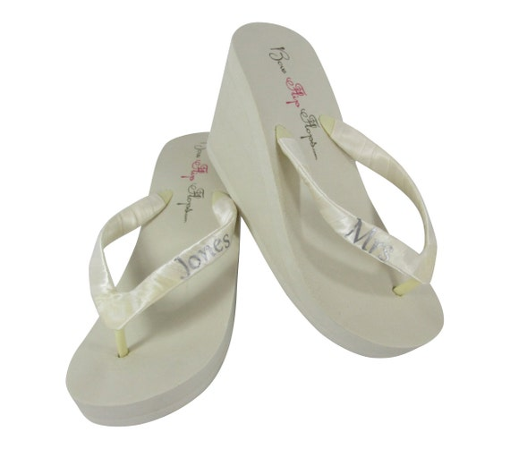 Flip Last Silver Flops Mrs Heel Lettering Name Flops Colors New Platform Many Wedge Platform Ivory White Bridal Flip Bdn8v007