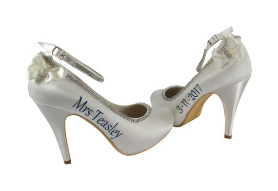 Last colors Heels Bride Wedding New with choose Bows and Rhinestone Personalized Mrs Jade Name Satin ga1wqyY