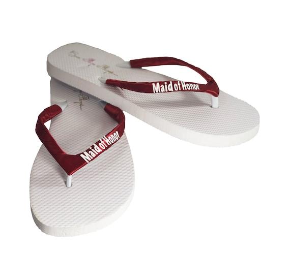 752ed51e959465 Maid of Honor Flip Flops Scarlet Red   White Glitter You