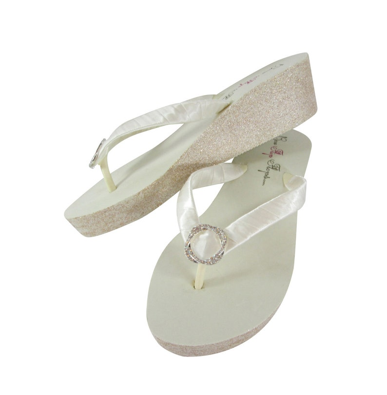 cf326f923ab3 Infinity Circle 2 inch or high Ivory or White Glitter Wedge