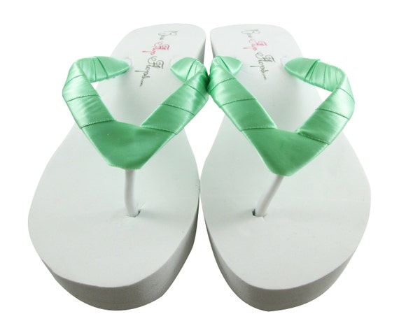 afec4e469 Bridal Shoes Satin Bride wrapped Flip Flops Wedding straps Flops White  Wedge Sandals Mint Plain Ivory ...