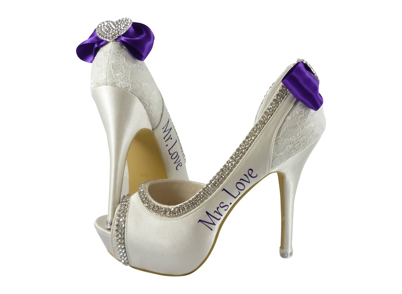 a1ee799d519bc Mrs Personalized Peep Toe High Heel Wedding Shoes Purple