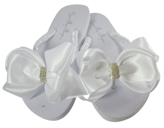 0c2d837304a27 Bridal Flip Flops with Emerald Cut Jewel Rhinestone Wedge