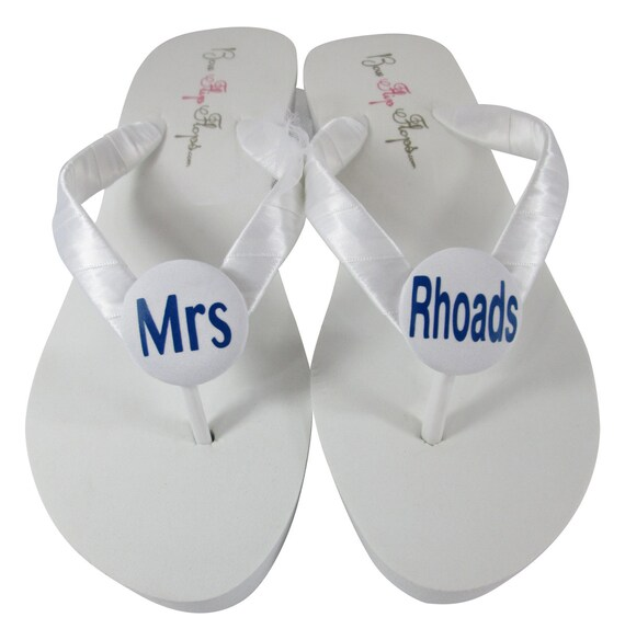 for silver Mrs Wedding Sandals the new Bridal gold White Personalized or with Name Flip Ivory the Bride or Last Flops Metallic x1anwZUqz