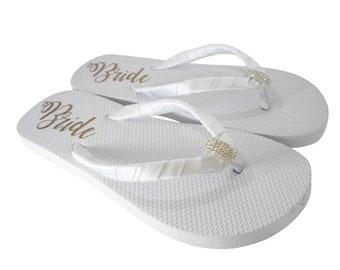 Gold Bride on White Flat Flip Flops with Emerald Cut Rhinestone Embellishment & Satin Wrapped Straps