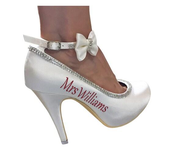 strass de avec et noeuds diamant rouge Chaussures mariage Mme TZxq0fC