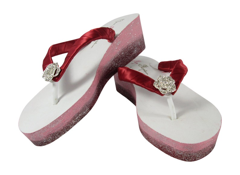 b0e87bd794d18 Bridal Ombre Glitter Flip Flops Wedding Wedges with