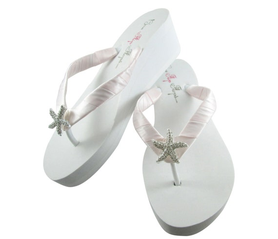 c8141017f9d3 Blush Ice Pink Bride platform heel Wedge Bridal Flip Flops