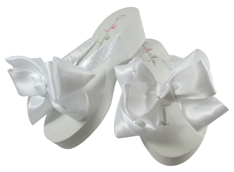 ea4ba1aed Bridal Flip Flops Ivory satin bow or white double bow