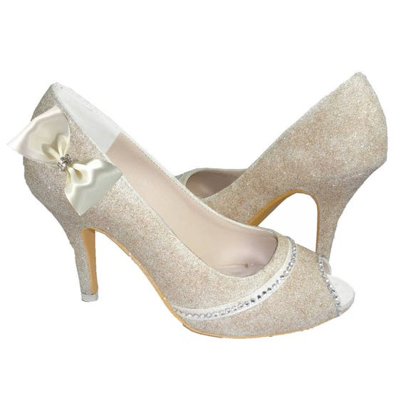 Wedding for Gold Shoes Satin Bridal Toe Bling bows the Silver Glitter Heels with or Bride Peep Champagne Rhinestone amp; znEaw