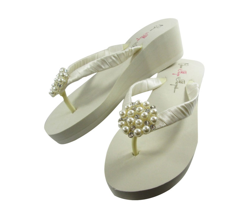 5df876a6edbf Ivory pearl bling Flip Flops bridal wedding shoes for the