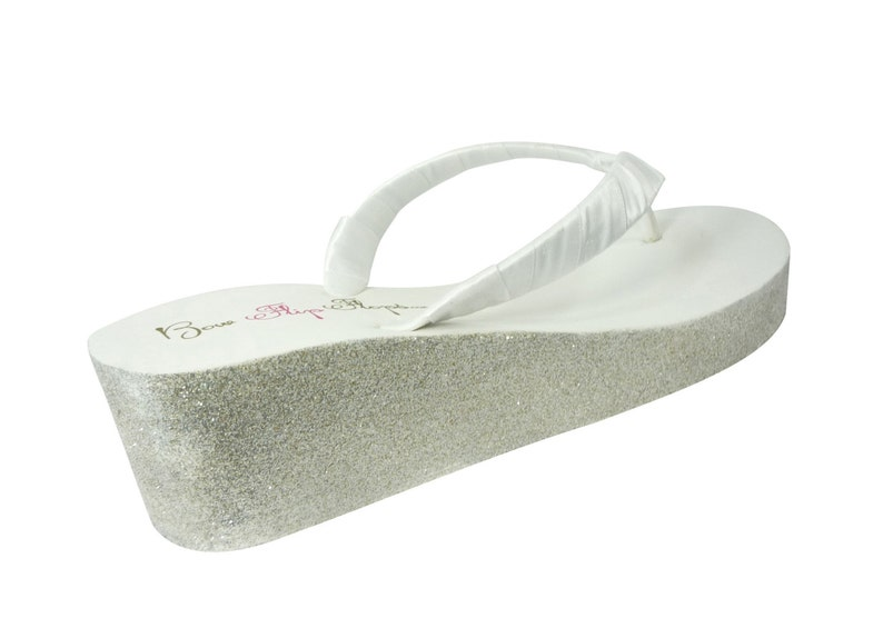 d2254e369f98 Wedge Wedding Flip Flops with Champagne   White  silver  ivory