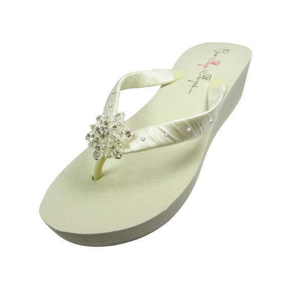 Bridesmaids Bridal Wedding Swarovski Flower Party flip for flops with Sizes Selection Accent Bride heel Rhinestone color of Vintage BBqvS1P