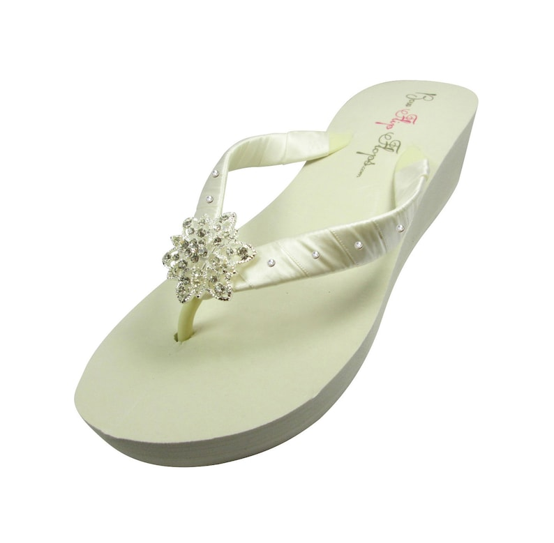 a8dcb663a Swarovski Accent Wedding flip flops with Vintage Flower