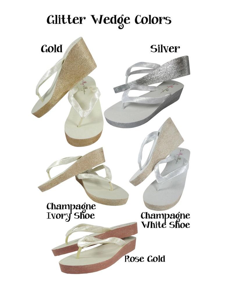 e0e855750 Navy   Silver Glitter Wedding Wedge Flip Flops Bride