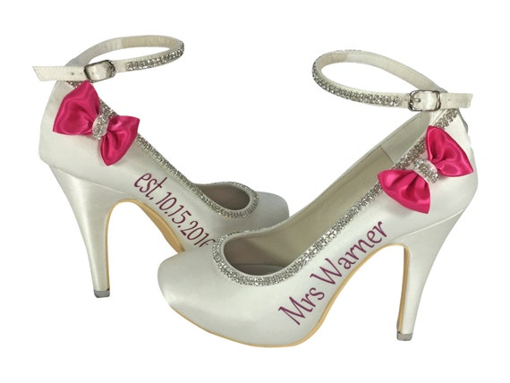 Date 4 Shoes Bows and name Bridal Heels Mrs High Ivory Rhinestone inch Wedding with Pumps for Bling and TfxwTdq