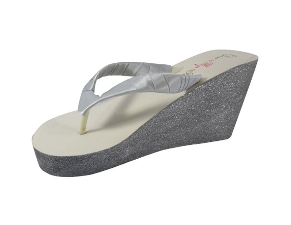 White Bling Flops Bridal amp; or Silver Choose Pewter 3 Wedge 5 Ivory Colors Glitter on Flip inch xHUBOw