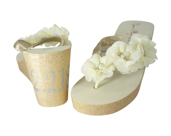 Bridal Wedding Date Wedge Flip Flops with Sweetheart Flowers, Custom Painted Glitter Sides and Satin Straps, Ivory and Champagne, Silver