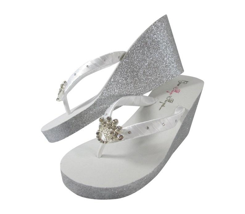 efc560cec6c Glitter Flip Flops Silver   Princess Crown Rhinestone Bling