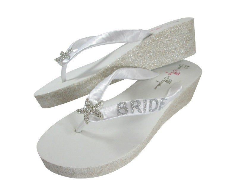 10515fbdb8d6a Starfish Glitter Wedge Bridal Flip Flops, White / Ivory with Champagne,  Silver , Gold or Copper Sparkle Heels