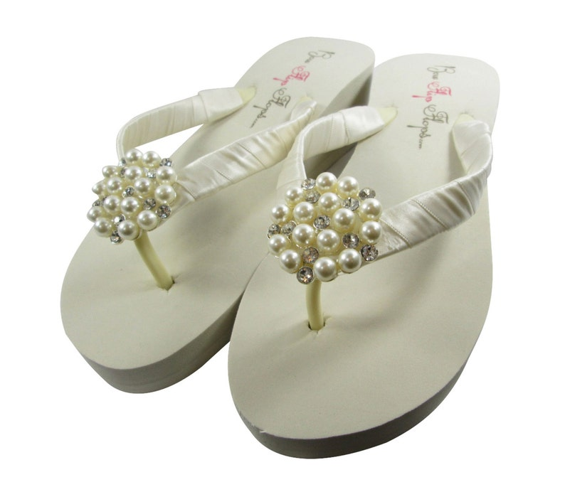bb1e664d6ab5a Bridal flip flops  pearl Ivory  Wedge  Bride wedding wedge