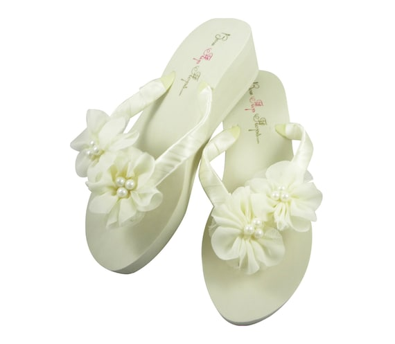 colors flip Ivory bride and bridesmaids pearl flops any wedge chiffon wedding flower colors choose flat I4rgwvq4