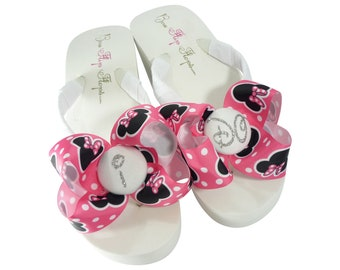 Hot Pink Minnie Mouse I DO Glitter Bow Flip Flops, Wedding Wedge or Flat Sandals for the Bride's Disney Wedding
