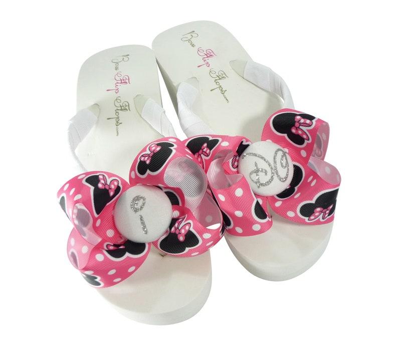 bd8c05d30 Hot Pink Minnie Mouse I DO Glitter Bow Flip Flops Wedding