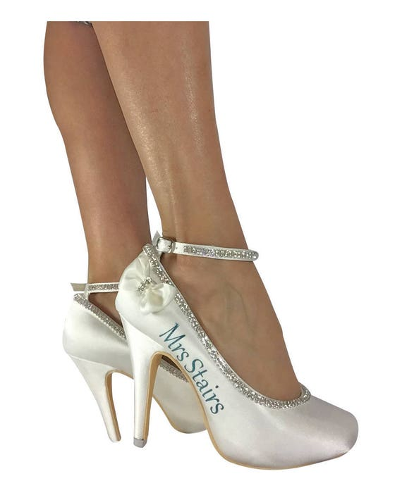 Bridal Personalized Bows on the Rhinestone Mrs on with Ivory Last Heels side Coral Gold Name awIPqF