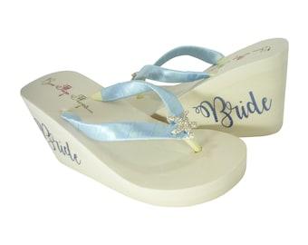 Something Blue Bride Wedge Flip Flops with Satin and Rhinestone Bling