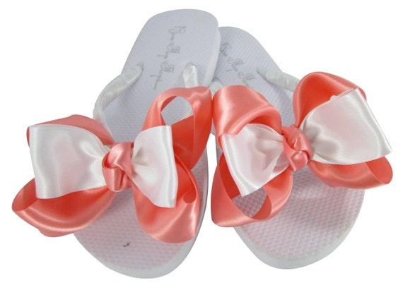 inch Bridal Flops Flip Coral 2 inch inch Bow Flops Flat Flip Ivory Sandals Flops Bridesmaid 3 Wedding Wedges heel 1 White 5 Flip 25 txw80qax
