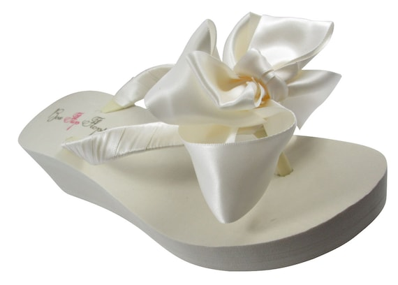 Fabulous Platform Ivory inch Satin Bride height Flops Flip Flops bridesmaids Wedges 5