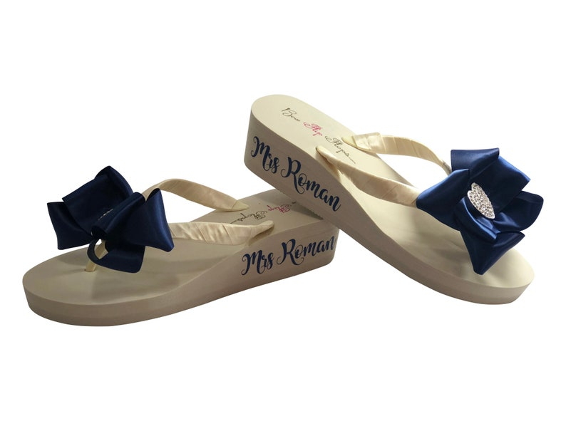8d6c65316 Mrs Wedge Wedding Flip Flops with Satin Bows in any Color
