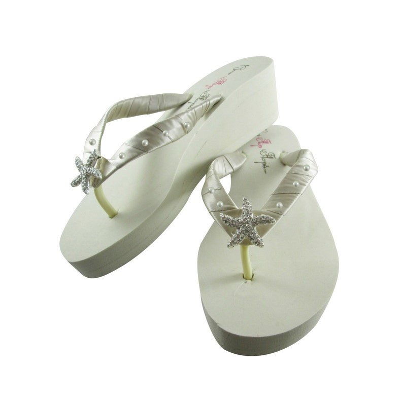 3df0cac6c Starfish Beach wedding flip flops with Swarovski Pearl