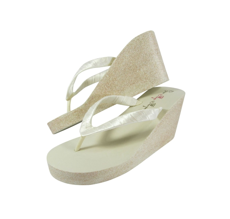 d1ed092400eb2 Wedge Wedding Flip Flops- Bride Bridesmaid Glitter wedges in 1.25, 2 or 3.5  inch heel- white/ champagne, gold or ivory