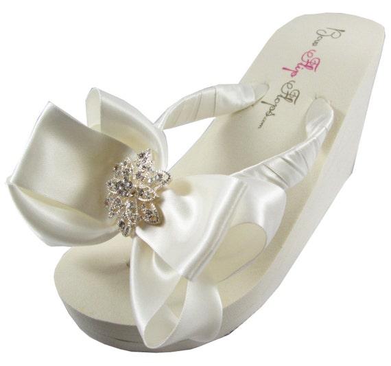 gift Bride Flat Wedding Flip Flower bow Bling Rhinestone Vintage Wedge Bridal Flops Ivory White Platform Flip Flops heel bridesmaids qRwxTcBfP6