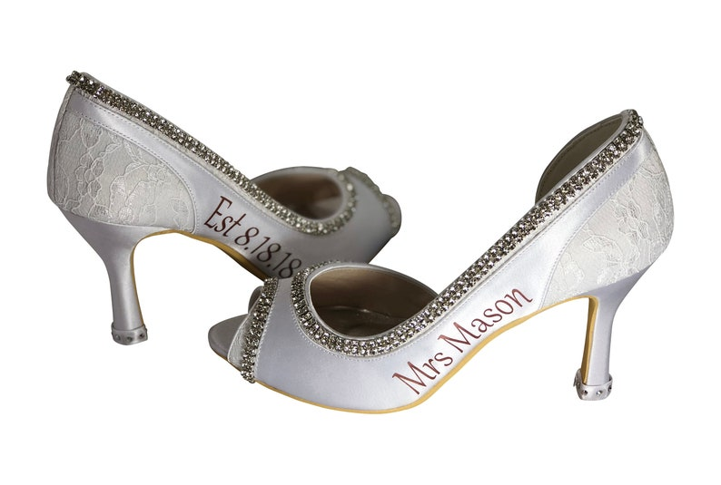 0510f6fa4b Rose Gold Personalized Bridal Wedding Shoes - High Heels for the Bride in  White or Ivory - 2