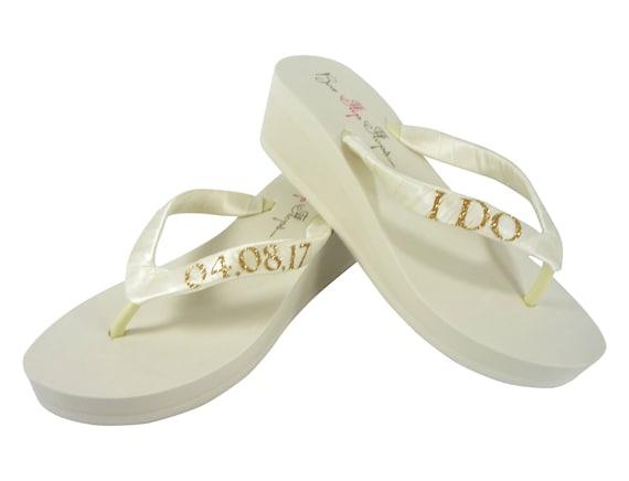 Date for Ivory or amp; Flip I Bride Do the Glitter and Wedding White Ivory Flops Wedge Gold vw5qAv