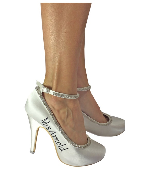 Heels High Silver last wedding Bridal new Strap Mrs name Diamonte Ivory and date and Rhinestone 4q10Rn