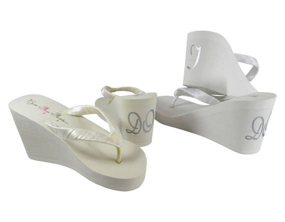 on back I Blue the flops Bride heel wedding for Something wedge Do of flip qISaxt