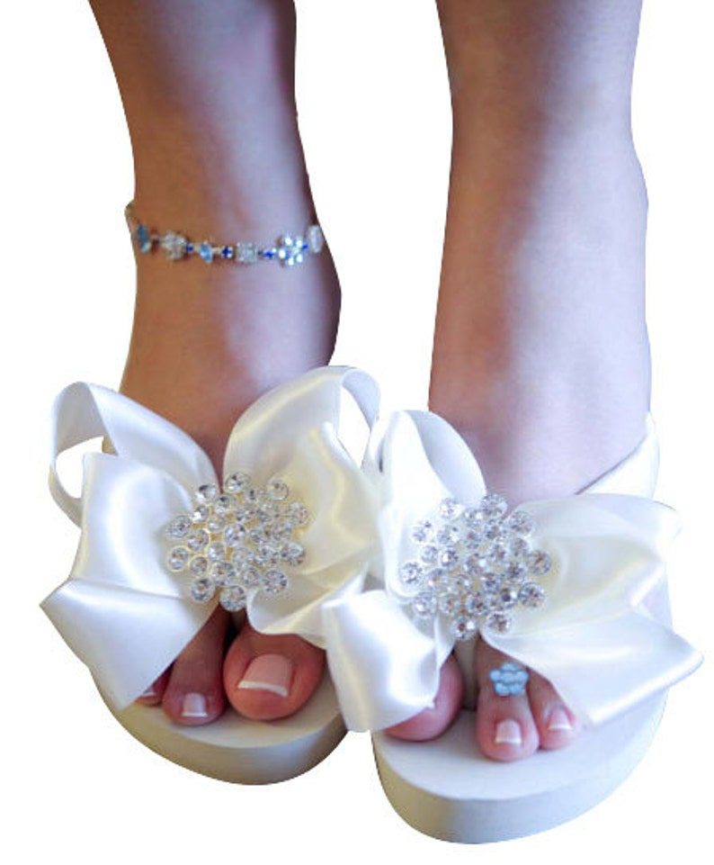 fbf04acd92 Ivory White Bridal Flip Flops Wedding Wedge Flip Flops with | Etsy